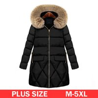 Wholesale fur coat models - M-5XL Plus Size Fur Hooded Parkas Coat Women Winter Warm Long Down Jacket 2017 Simple Model Big Size Thick Coat