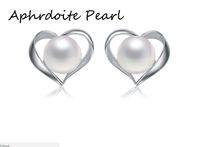 perlenohrringe muster großhandel-Solide Sterling Silber Ohrring Einstellung, 925 Silber Ohrring leer ohne Perle, Herz-Muster, Schmuck DIY, Geschenk DIY