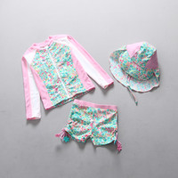 Wholesale sun protective hats for sale - Group buy top quality new baby girls floral Sunscreen swimsuit kids fashion beach wear with hat long sleeve shirt shorts sun protective clothing