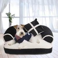 alfombra de lujo para mascotas al por mayor-Lujo cómodo perro mascota cama sofá cálido terciopelo suave grande perro cachorro casa perrera acogedor gato nido colchoneta colchón ropa de cama para mascotas
