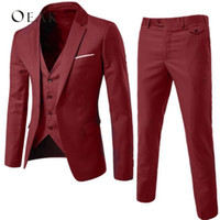 ingrosso blazer button set-Oeak Slim Suit Uomo Abiti maschili Business Formal Dress Blazer Wedding Office Pants Set 2018 costume homme 3 pezzi costume homme