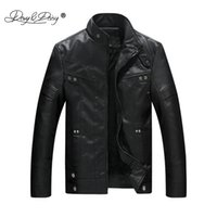 Wholesale Thin Leather Motorcycle Jacket - DAVYDAISY Men Jacket Warm Motorcycle PU Leather Stand Collar Man Winter Jackets Coat Fashion Male Autumn Outerwear JK038