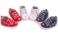 baskets à lacets en toile bébé achat en gros de-Nouveau-né Enfance Infantile Bébé Garçon Fille Doux Sole Crèche Chaussures Sneaker Garçons Filles En Bas Âge Lacet Chaussures Floral Anti-slip Prewalker