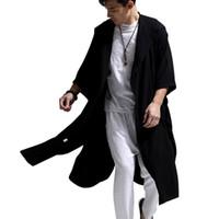 trincheira com capuz branco venda por atacado-Branco Azul Preto de Alta Qualidade de Algodão De Linho Das Mulheres Dos Homens Trench Coat Masculino Com Capuz Manto Longo Blusão Cardigan Trench Jacket