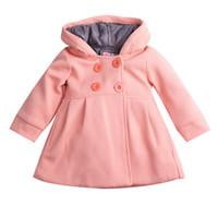 çocuklar için giyim giysileri toptan satış-Yürüyor çocuk Güz Kış Korna Düğmesi Kapüşonlu Bebek Kız Kış Sıcak Yün Karışımı Bezelye Ceket Snowsuit Ceket Giyim Giysi