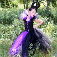 kraliçe kız kostümü toptan satış-Kötü Kraliçe Kız Tutu Elbise Siyah Kız Çocuklar Cadılar Bayramı Elbise Cosplay Cadı Kostümleri Fantezi Kız Parti Çocuk Giysileri 2-12y