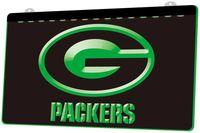 neon grün geführt bar licht großhandel-LS846-g-Green Bay Packers Stab 3D LED Neonlicht-Zeichen-Dekor Freies Verschiffen Dropshipping Großverkauf 6 Farben zum zu wählen