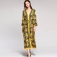 Wholesale yellow polka dress - New Arrival Women's Sexy V Neck Long Sleeves Vintage Printed Floral Sash Belt Loose Design Fashion Pajamas Dresses
