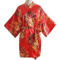 gecelik güneşli zenci toptan satış-Kadınlar Seksi Robe Gecelik Rahat Pijama Rayon Kimono Banyo Elbisesi Gelin Kıyafeti Mini Robe Elbise Çiçek Negligee Düğün Hediyesi