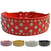 ingrosso collari di cane extra larghi-Collare di cane di moda Diamante grande collare di cuoio largo 2 pollici per Pitbull Pet prodotti per animali Forniture per cani grandi