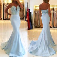 Wholesale baby shirt straps - Baby Blue 2018 Prom Dresses Off the Shoulder Beads Sequins Mermaid Evening Dresses Sexy Plus Size Formal Gowns