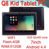 Wholesale q88 q8 a33 quad core tablet resale online - Q8 inch tablet PC A33 Quad Core Allwinner Android4 Strong Capacitive MB RAM GB ROM WIFI Dual Camera Flashlight Q88 CPB