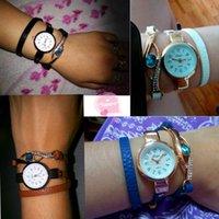 часы наручные оптовых-Мода кварцевые часы браслет часы лучший бренд кожаный ремешок Леди девушка наручные часы часы женщины relogios femininos #0l