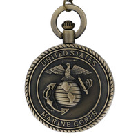 Wholesale Vintage Male Watches - Vintage Bronze Mens Watches United States Navy Marine Corps Quartz Pocket Watch Necklace for Men Boys Retro Military Male Unisex Chain Gifts