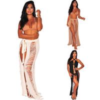 684c7a3ccc Women Bikini beach Cover ups Crochet Hollow knit Skirt summer sexy bohemian  Wrap Bandage Dress swimwear beachwear seaside sunscreen dresses