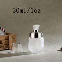 glaspflegebehälter groihandel-30 ml 1 unze Hohe Qualität Milchglas Pumpflasche-Reise Nachfüllbar Kosmetische Hautpflegecreme Dispenser, PP Lotion Glas Verpackungsbehälter