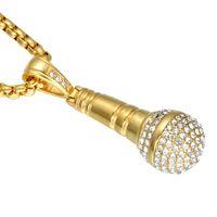 титановые бедра оптовых-Хип-хоп золотой цвет Титана нержавеющей стали льда из Bling музыка стереоскопический микрофон Ожерелье для мужчин ювелирные изделия