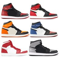 Wholesale Christmas Shadow - New Retro 1 High OG Banned Shadow Bred Toe Basketball Shoes Men 1s Shattered Backboard Silver Medal Sneakers High Quality With Box