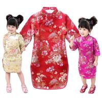 neujahrsblume großhandel-Red Baby Mädchen Qipao Kleider 2018 Neujahr Kinderkleidung Pfingstrose Blumenmädchen Cheongsam Outfits Festival Party Chi-Pao Kleid Kostüme