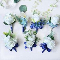 blumenstrauß boutonniere großhandel-Künstliche Blumen Handgelenk Blumen Boutonnieres Hochzeit Bouquet Boutonniere birdsmaid Blumenstrauß Bräutigam Corsage für Hochzeit blau und weiß