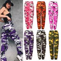 calças longas de camuflagem venda por atacado-Senhoras Moda Casual Camuflagem Camo Calças Compridas Calças Femininas