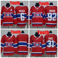 2018 Youth Montreal Canadiens 31 Carey Price 6 Shea Weber 92 Jonathan  Drouin Hockey Jerseys Kids Boys Blank Hockey Shirts 6ce0b00b9