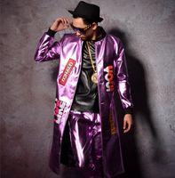 ingrosso pantaloni in pelle viola-Pantaloni pantaloni 2 pezzi set Cuoio uomo vestito viola viola lungo cappotto giacca sottile cantante ballerino spettacolo di stelle discoteca bar prestazioni DJ c