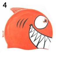 bonés de natação dos peixes venda por atacado-Crianças Boné de Natação De Silicone Engraçado Peixe Crianças Natação Chapéu de Banho para Meninos Meninas ALS88