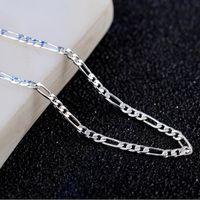 collar de cadena de mujer modelos al por mayor-2018 nuevo de calidad superior plateado estampado 925 4mm Figaro collar de cadenas para el modelo de los hombres de las mujeres jewerly al por mayor 16-30 pulgadas