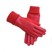 многоцветные пальцы теплые перчатки оптовых-Женщины зимние перчатки сенсорный экран перчатки пять пальцев ПУ флис теплые перчатки мульти цвета
