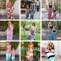 Wholesale matches fashion mom daughter clothes resale online - Family Matching Mother Daughter Dresses Clothes Striped Mom and Daughter Dress Kids Parent Outfits Ankle Length Mother Kids Clothes