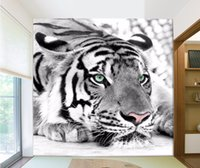 Wholesale Tiger Bedroom Wall - photo wallpaper Tiger black and white animal murals entrance bedroom living room sofa TV background wall mural wall paper