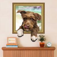 molduras para foto mural venda por atacado-3D papel de parede simulação cão bonito foto falsa quadro menino menina quarto adesivos de parede quarto sala de estar murais decorativos