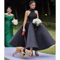 özel yapılmış çay elbisesi siyah toptan satış-Seksi Siyah Halter Gelinlik Modelleri Saten Büyük Yay Çay Boyu Kokteyl Parti Elbise A Hattı Custom Made İlkbahar Yaz Ucuz Abiye giyim