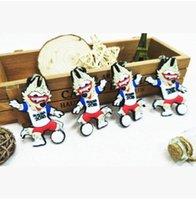 Wholesale Mascot Led - 2018 Russian World Cup Abudhabi Waka Key Chian Russian Mascot Souvenir Soccer Keychain Creative Zabivaka keychains