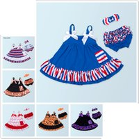 Wholesale Wholesale Baby Clothings - New Summer Infants Clothes 3pcs Set Girls Sling Dresses Romper Briefs Headbands Baby American Holiday Xmas Fashion Clothings Suits 0-2T