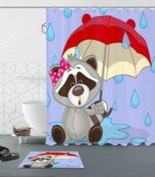 ingrosso tende all'orso-Tenda da doccia personalizzata Tenda da doccia Tenda da doccia Multi size include 12 ganci in plastica Tappetino antibatterico Facile da appendere Tenda da doccia