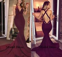 Wholesale vestidos largos fashion - Sexy Backless Long Mermaid Evening Dresses 2018 Deep V Neck Satin Long Train Simple Women Party Dresses Elegant Vestidos de fiesta largos