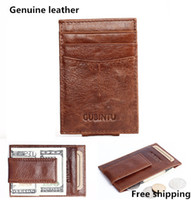 Wholesale genuine money purses for men online - Retro Genuine Leather Man Wallets Magnet Money Clips Famous Brand Mens Fashion Purses For Cards Coin Pocket High Quality