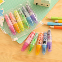 Wholesale pen read books online – design 6 Colors set Mini Highlighters Cute Fluorescent Marker Pen for Reading Book Kawaii Stationery Office School Supplies
