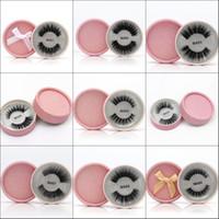Wholesale false glitter eyelashes for sale - Group buy 3D Silk Fibroin Transparent Plastic False Eyelashes Natural Long False Lashes Pink Round Glitter Box Package