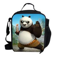 yılbaşı yemeği poşetleri toptan satış-Sıcak Noel Hediyeler Için Okul Çocuk Öğle Yemeği Çantası Çocuklar Için Karikatür Kung Fu Panda Öğle Yemeği Çantası Termal Yalıtımlı ...