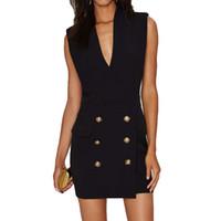 nachtkleider weiblich großhandel-reizvolle Frauen der Nachtfrauen geben Qualität Balmarke Metallschnallen V-Ausschnitt sleeveless Kleid-Rockabendkleid 2colors Verschiffen frei