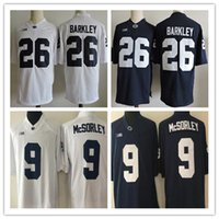 Wholesale Lion Costume Men - Saquon Barkley jerseys 26 Mens Penn State Nittany Lions color Navy Blue White College Stitched NCAA 9 Trace McSorley shirts adult cosplay