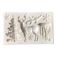 silikon kar tanesi kek kalıbı toptan satış-Faydalı Yılbaşı Ağacı Geyik Kar Tanesi Silikon Kek Kalıbı Çikolata Jöle Pişirme Kalıp Şeker Zanaat Araçları Fondan Kek Dekorasyon