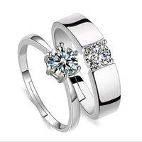 korea pärchen ring groihandel-Korea Stil Versilbert Kristall Liebhaber Ringe Zirkon Paar Ringöffnung Einstellbare Hand Diamant Schmuck Valentinstag Geschenk Für Männer Frauen