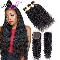 Wholesale brazilian wavy weave closures for sale - Group buy 9A Mink Indian Virgin Water Wave Bundles With x4 Lace Closure Frontal Wet and Wavy inch Virgin Human Hair Weave Cheap Hair