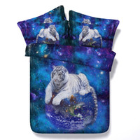 Wholesale 3d bedding sets king resale online - 3D white tiger bedding sets queen christmas galaxy duvet cover single twin king cal king size earth bedspreads bedlinens home textiles adult