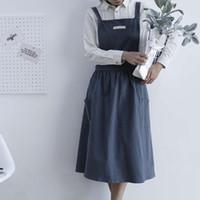 покупки в садах оптовых-Плиссированные юбки дизайн фартук простой промывают хлопок равномерное фартуки для женщины леди кухня приготовления пищи садоводство кафе