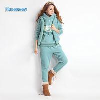 Wholesale Fleece Hooded Vest - HUCOINHOW Women Sport Suit M-XXL Lady Fleece Thick Hooded Tops+Loose Pants+Vest Set Lady Sports Clothing 3 Pieces Tracksuit